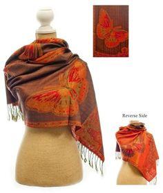 Teramasu Brown and Orange Butterfly Pashmina Silk Shawl Teramasu. $39.95
