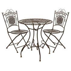 Outdoor Oriental Furniture Rustic Wrought Iron Patio Bistro Set - GF-SET1-RST