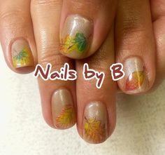 Fall Leaves Nails by B #nailart #handpainted #nailsbyb #gelpolish