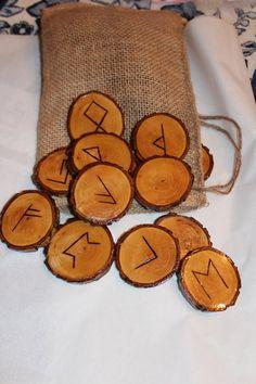 Wood Burned Walnut Elder Farhuk Runes by FairyFresh on Etsy