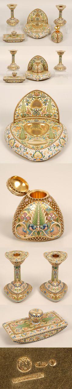 Ovchinnikov Enamel Desk Set ~ A Russian silver gilt and cloisonné enamel… Style Russe, Art Nouveau, Or Antique, Antique Toys, Faberge Eggs, Egg Art, Desk Set, Russian Art, Saint Petersburg