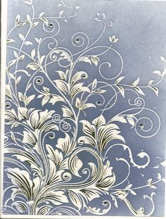 """Hero Leafy Vine stamps. Stamp with white embossing powder and color background with shades of blue Distress Ink. Add touches of green marker on leaves and rhinestone gems."""" -- from Millsrepco"""