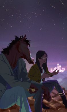 """mmcoconut: """"That's the thing, I don't believe in 'deep down'. I kind of think all you are is just the things that you do. """" I love when Bojack and Diane have these little talks on roof. Digital Foto, Wallpaper Animes, Movies And Series, Bojack Horseman, Animation Series, Show Horses, Cartoon Art, Cartoon Characters, Art Inspo"""