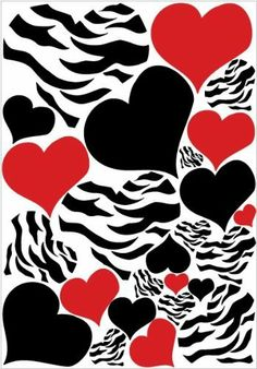 Zebra Print, Red and Black Heart Wall Stickers, Decals, Graphics by Presto Wall Decals, http://www.amazon.com/dp/B00A3EXDHU/ref=cm_sw_r_pi_dp_MxCjrb1PT0CH0