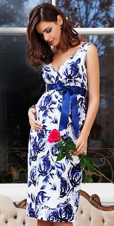 Riviera Maternity Dress (Orient Blue) by Tiffany Rose