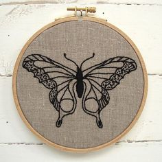 This butterfly embroidery pattern comes in a complete kit with black thread and natural linen. www.etsy.com/shop/iheartstitchart