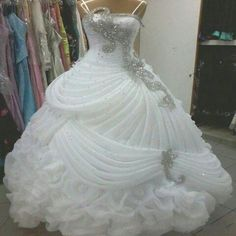 2015 Luxury Wedding Dresses Crystal Beaded Sequins Ruffles A Line Wedding Dress Sweep Train Ball Gown Elegant Wedding Gown Dress New Arrival Silver Wedding Gowns, Crystal Wedding Dresses, Elegant Wedding Gowns, Wedding Dresses 2018, Luxury Wedding Dress, Perfect Wedding Dress, Quinceanera Dresses, Bridal Dresses, Gown Wedding