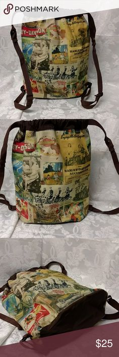 """Harley-Davidson vintage print drawstring backpack New bag, never used measures 10""""L x 15""""H x 5""""W. Bag has adjustable shoulder straps.  I love this bag, but it has no pockets and wouldn't work for me. It would make a great book bag or a small overnight bag for you. Harley-Davidson Bags Backpacks"""