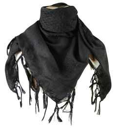Amazon.com: Premium Shemagh Head Neck Scarf - Black/Black: Clothing