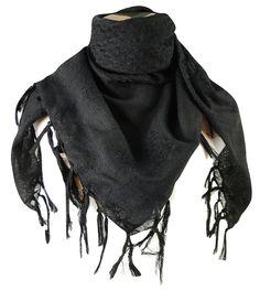 Amazon.com: Premium Shemagh Head Neck Scarf - Black/Black: Clothing