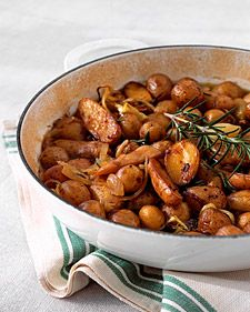 We used a combination of fingerling and tiny new potatoes, but this dish would be just as delicious with quartered or halved new potatoes.