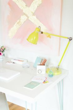 This pastel colored office decor features not one, but two DIYs. The abstract wall art & that amazing hairpin desk. This minimal office space is the perfect place for inspiration to strike!