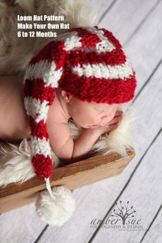 Candy cane baby hat loom pattern pdf 6 to 12 months. $5.50, via Etsy.