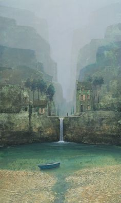 Philippe Charles Jacquet, La cascade, Oil On Board