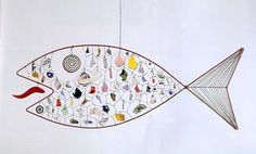 Alexander Calder Brazilian Fish ca. 1947 painted sheet metal, painted wire, wire rods, metal, broken pottery and glass 24 x 63 in. $3.91 million.....