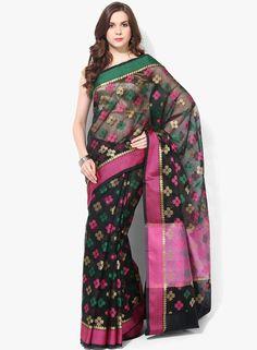 Buy Bunkar Black Printed Super Net Saree for Women Online India, Best Prices, Reviews   BU651WA29WFEINDFAS