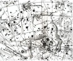 """Centaurus as depicted by Johann Bode in the Uranographia. The centaur has impaled the wolf on a   on a long pole. Alpha Centauri is the nearest star to the Solar System - it's the centaur's front foot. (Image: Ian Ridpath) ©Mona Evans, """"Night Sky Olympics"""" http://www.bellaonline.com/articles/art41582.asp"""