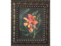 This auction is for a beautiful painting of an orange lily by Judith Gray; framed size is 20