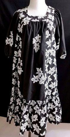 EXC Vintage Genuine Made in Hawaii USA Floral Sundress Black Mumu Hawaiian Small #SidanHawaii #Mumu #SummerBeach