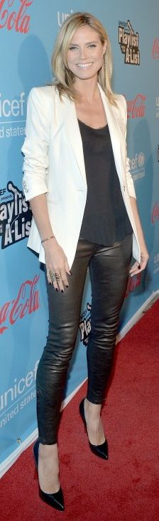 Who made Heidi Klum's black leather pants and black pumps that she wore in Los Angeles? Jeans – J Brand  Shoes – Christian Louboutin  Revolve clothing