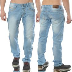 Pantalones-Vaqueros-Hombre-Delgado-Ajustado-Azul-Diseno-Clubwear-Azul-Claro-Azul