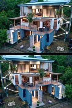 Small House Design, Modern House Design, Shipping Container Home Designs, Shipping Containers, Shipping Container Pool, Building A Container Home, Sea Container Homes, Storage Container Homes, Container Buildings
