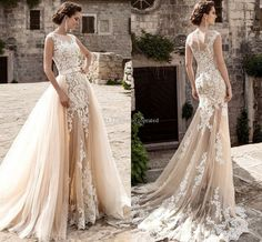 2017 Champagne Over Skirts Tulle Wedding Dresses A Line See Through Vintage Lace Appliqued Sash Detachable Train Boho Bridal Wedding Gowns Wedding Dresses Princess Wedding Lace From Toprated, $132.97| http://Dhgate.Com