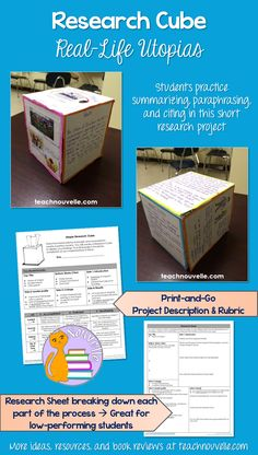This short research project about utopias helps students practice skills like summarizing, paraphrasing, embedding quotes, and citing sources. Each side of the Research Cube targets a different research skill and facet of the topic. Students will love this alternative to a research paper! Use this project in conjunction with any dystopian novel study like The Giver or The Hunger Games, or as a stand-alone project. Includes project guidelines, rubric, research sheet, and samples (gr. 4-9).