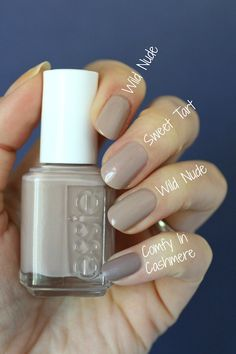 Essie Envy: Essie Wild Nude, Winning Streak & Without A Stitch : Swatches & Comp. - Essie Envy: Essie Wild Nude, Winning Streak & Without A Stitch : Swatches & Comparisons - Nude Nails, My Nails, Fall Nails, Glitter Nails, Nail Art Cute, Essie Nail Polish Colors, Gray Nail Polish, Gel Polish, Beige Nail