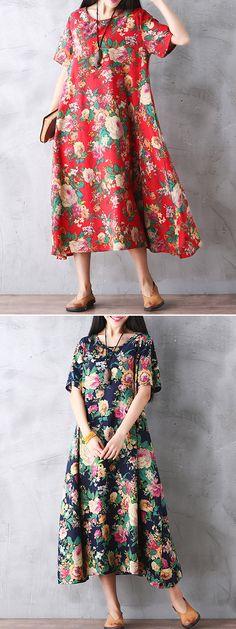 US$ 20.94 Gracila Women Vintage Floral Printed Loose Short Sleeve Maxi Dresses