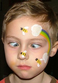 Bee and Rainbow face-paint concept