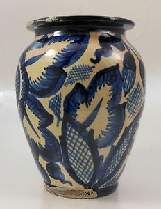 Vintage Cobalt Clear Glaze German Pottery Vase Early 20th Century | eBay