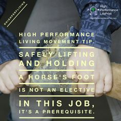 High Performance Living Movement Tip. Safely lifting and holding a horse's foot is not an elective in this job, it's a prerequisite.  What's your favorite way to handle a horse foot? Tag someone that could use this.  #horse #farrier #movement #home #work #stress #health #life #business #vetlife #coach #coaching #highperformance #veterinarian #lifeprint #vetstudent #vettech #vetschool #success #veterinary #instavet #highperformancelifeprint #vetstudentlifeprint #hpl #highperfliving #quote