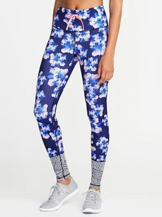 Old Navy  High-Rise Floral-Print Striped-Calf Compression Leggings for Women $32.99 $19.00 Extra Savings Applied at Checkout  Color: Blue Watercolor Floral