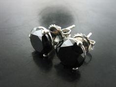 BLACK DIAMOND STUDS IN PLATINUM - Jelena Behrend Studio