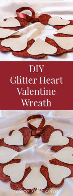 A gorgeous wreath made with red and white card stock paper cut out hearts decorated with red and white glitter! A fun and easy to make Valentine's Day DIY for both children and adults. / timewiththea.com