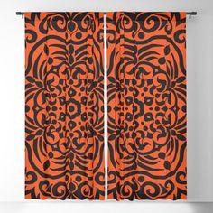 Black mandala on orange background Blackout Curtain Black Curtains, Blackout Windows, Orange Background, Curtain Rods, Mandala, Throw Pillows, Toss Pillows, Black Curtain Tracks, Cushions