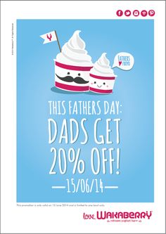 This Fathers Day, give your dad the sweet treat he deserves! A delicious 20% off his bowl of happiness :) T&C's apply