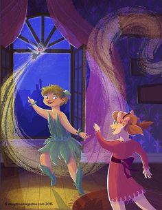Tinker Bell flutters away! Illustration by Christine Knopp (http://kikidoodle.tumblr.com) for Peter Pan in Storytime Issue 11!  ~ STORYTIMEMAGAZINE.COM