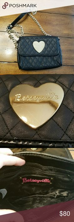 !BOGO SALE! Betsey Johnson Crossbody FAB Betsey Johnson Crossbody with gold chain. Great condition. Only flaws are minor scratches on logo.   Entire closet bogo 50% off or use the offer button! :) Betsey Johnson Bags Crossbody Bags