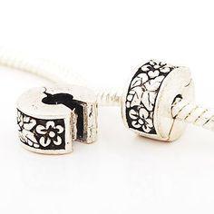 Andante-Stones perle Argent 925 Clip Stopper avec fleurs et feuilles Élément bille pour perles European Beads + Étui en organza
