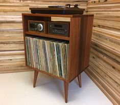 Mid Century Record Cabinet Micro Mid Century Modern Record Player Console Turntable Stereo Cabinet With Album Storage Mahogany With Natural Oil Finish Mid Century Record Cabinet For Sale Record Player Console, Record Stand, Record Display, Vintage Record Player Cabinet, Hifi Stand, Record Players, Stockage Record, Stereo Cabinet, Console Cabinet