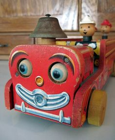 Tracy's Toys (and Some Other Stuff): Fisher Price Fire Trucks: Looky, Winky Blinky, and Snorky Jouets Fisher Price, Fisher Price Toys, Vintage Fisher Price, Metal Toys, Tin Toys, Toy Trucks, Fire Trucks, Vintage Games, Vintage Toys