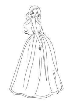 Desenhos para colorir e imprimir barbie dress