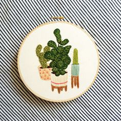 Fiddle Leaf Fig Tree and Cactus Embroidery Wall by hellohannahlow