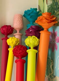 Colour blocked curtains poles by Byron & Byron Ltd, The Floral Collection Neons