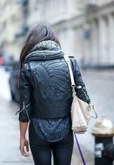 Black leather jacket, back detail.