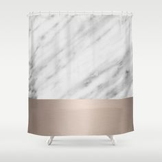 Carrara Italian Marble Holiday White Gold Edition Shower Curtain by cafelab - $68.00