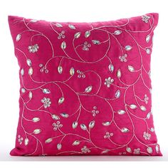 Designer Fuchsia Pink Pillow Covers, Silk Pillows Covers For Couch, Square Zardozi Leaves Garden Pillows Cover - Fuchsia Bloomers Red Throw Pillows, Pink Pillows, Bed Pillows, Pink Pillow Covers, Cushion Covers, Decorative Pillow Covers, Decorative Throw Pillows, Leather Pillow, Pink Art