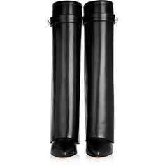 Givenchy Shark Lock wedge knee boots in black leather, Women's, Size:... ($2,245) ❤ liked on Polyvore